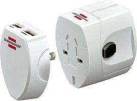 Wereld reisstekker met 2 USB-poorten