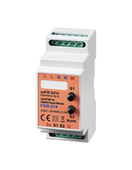 Adapter S214 voor DIN TH35-rail tbv FIBARO Smart Module FGS214