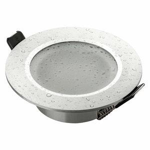 Ledspot-inbouwframe badkamer IP44, zilver mat aluminium, incl. GU10-fitting