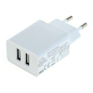 Dual USB Thuislader 2.1A, Wit
