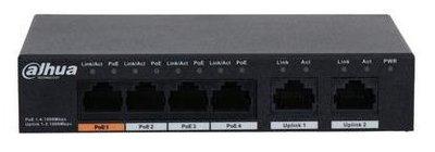 Dahua PFS3006-4GT-60 6 poort switch Gigabit 4 x PoE 60W